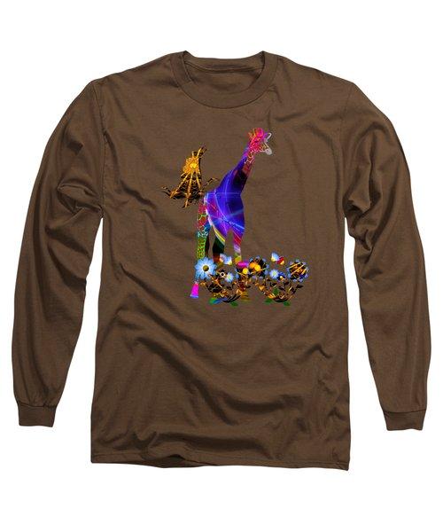 Giraffe And Flowers Long Sleeve T-Shirt by EricaMaxine  Price