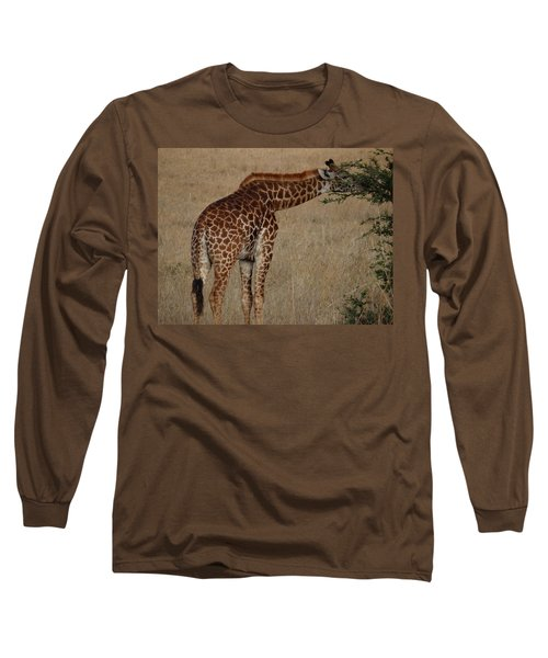 Giraffes Eating - Side View Long Sleeve T-Shirt
