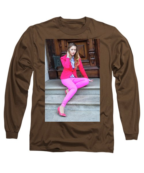 Girl Dressing In Pink Long Sleeve T-Shirt