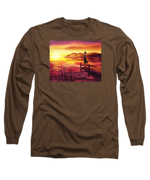 Long Sleeve T-Shirt featuring the painting Girl Watching Sunset At The Lake by Irina Sztukowski