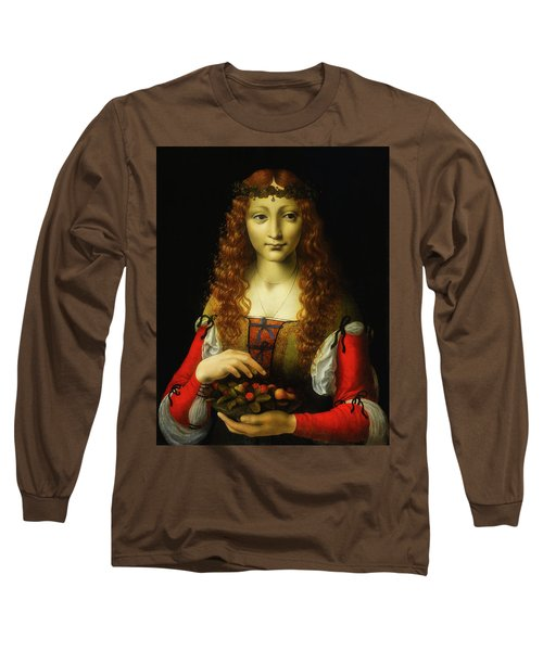 Long Sleeve T-Shirt featuring the painting Girl With Cherries by Giovanni De Predis