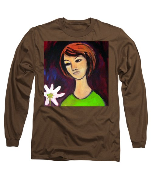 Long Sleeve T-Shirt featuring the painting Girl With White Flower by Winsome Gunning