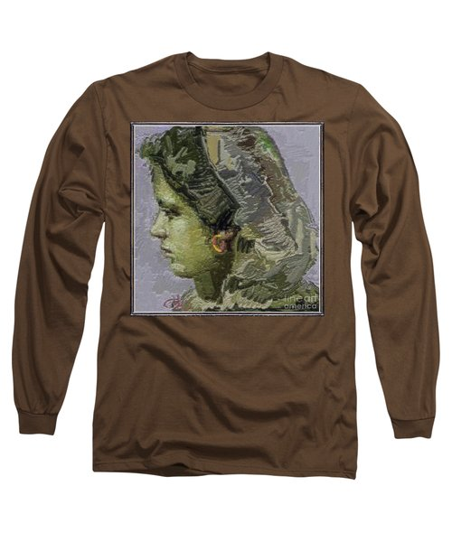 Girl With Yellow Earring Gwye2 Long Sleeve T-Shirt by Pemaro