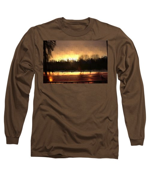 Long Sleeve T-Shirt featuring the mixed media Glassy Dawn by Terence Morrissey