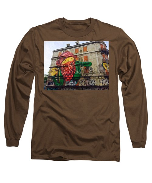 Long Sleeve T-Shirt featuring the painting Globe Building Art Painting by Sheila Mcdonald
