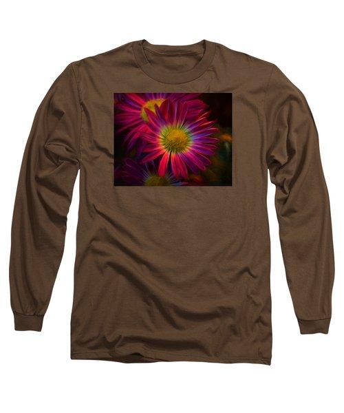 Glowing Eye Of Flower Long Sleeve T-Shirt by Lilia D