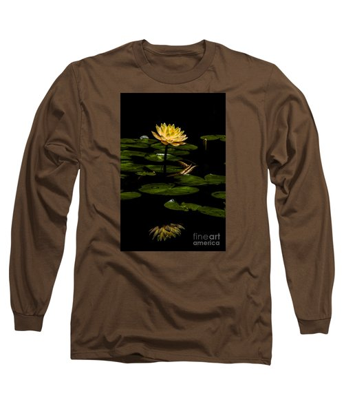 Glowing Waterlily Long Sleeve T-Shirt by Barbara Bowen
