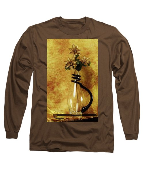 Gold Flowers In Vase Long Sleeve T-Shirt