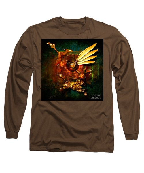 Long Sleeve T-Shirt featuring the painting  Gold Inkpot by Alexa Szlavics