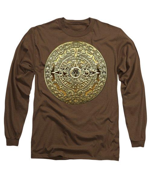 Gold Mayan-aztec Calendar On Brown Leather Long Sleeve T-Shirt