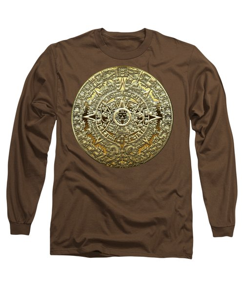 Gold Mayan-aztec Calendar On Brown Leather Long Sleeve T-Shirt