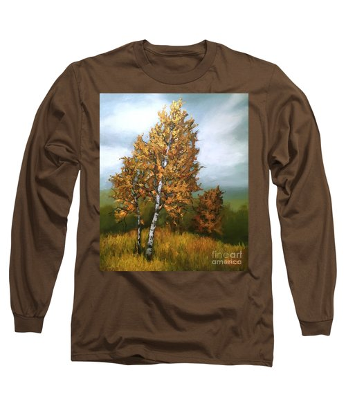 Long Sleeve T-Shirt featuring the painting Golden Birch by Inese Poga