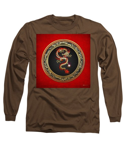 Golden Chinese Dragon Fucanglong On Red Leather  Long Sleeve T-Shirt