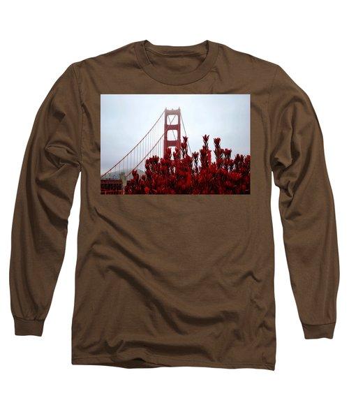 Golden Gate Bridge Red Flowers Long Sleeve T-Shirt by Matt Harang