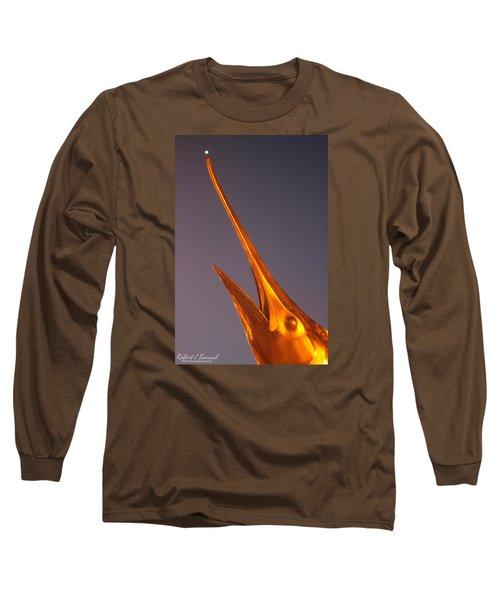 Golden Marlin And A Full Moon Long Sleeve T-Shirt by Robert Banach
