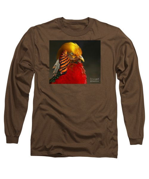 Golden Ornamental Pheasant Long Sleeve T-Shirt by Debbie Stahre