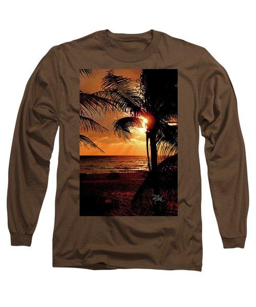 Golden Palm Sunrise Long Sleeve T-Shirt by Meta Gatschenberger