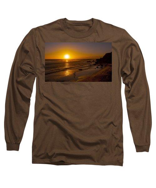 Long Sleeve T-Shirt featuring the photograph Golden Sunset Walk On Malibu Beach by Jerry Cowart