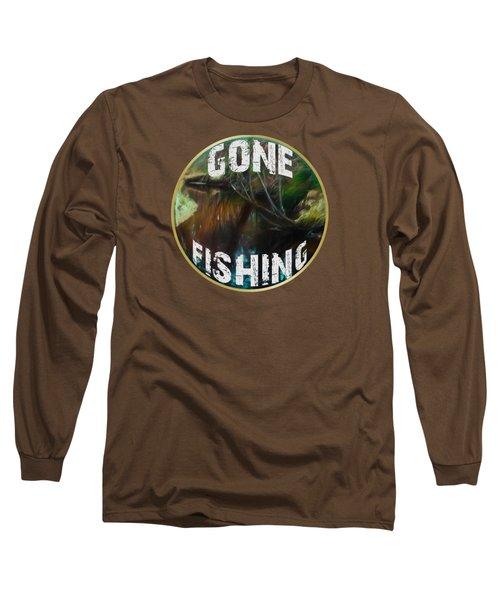 Gone Fishing Long Sleeve T-Shirt by Mim White