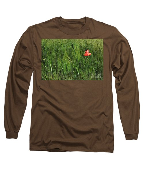 Grassland And Red Poppy Flower 2 Long Sleeve T-Shirt by Jean Bernard Roussilhe