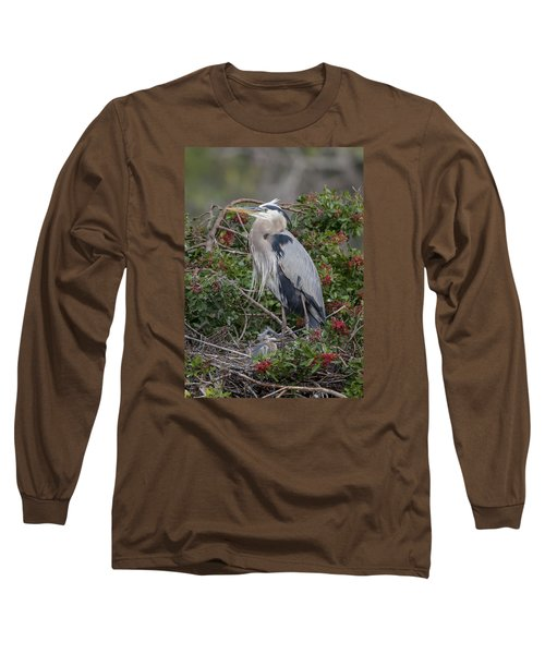 Great Blue Heron And Nestling Long Sleeve T-Shirt