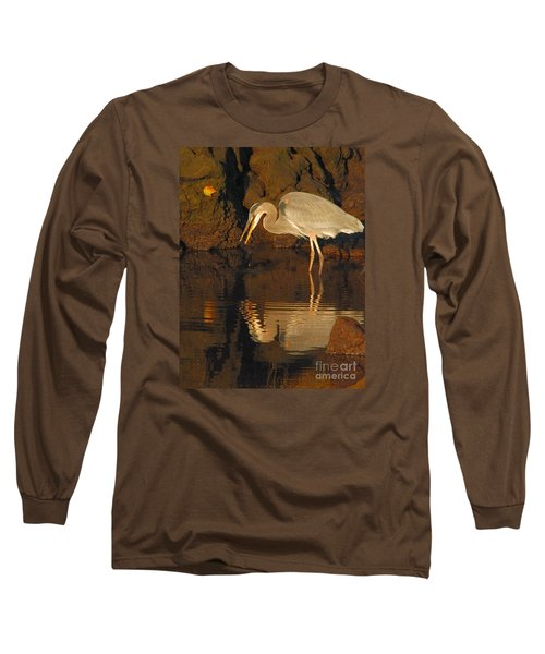 Great Blue Heron Long Sleeve T-Shirt by Debbie Stahre
