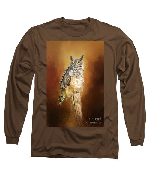 Great Horned Owl In Autumn Long Sleeve T-Shirt