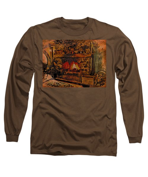 Long Sleeve T-Shirt featuring the digital art Green Dragon Hearth by Kathy Kelly