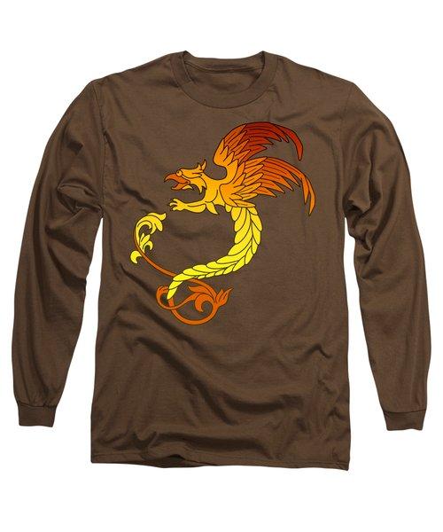 Griffin Griffon Gryphon In Flaming Colours Long Sleeve T-Shirt by Heidi De Leeuw