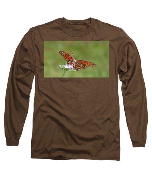 Gulf Fritillary On Elephantsfoot Long Sleeve T-Shirt