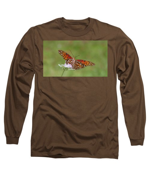Gulf Fritillary On Elephantsfoot Long Sleeve T-Shirt