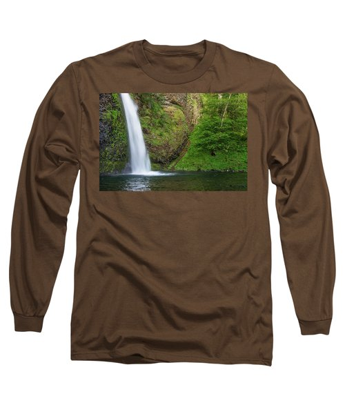 Long Sleeve T-Shirt featuring the photograph Gushing Horsetail Falls by Greg Nyquist