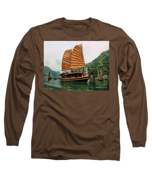 Ha Long Vessel Brown  Long Sleeve T-Shirt by Chuck Kuhn