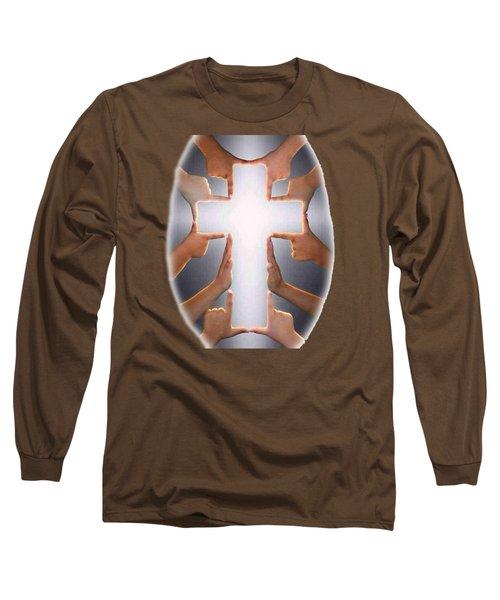 Hands Cross T-shirt Long Sleeve T-Shirt by Herb Strobino