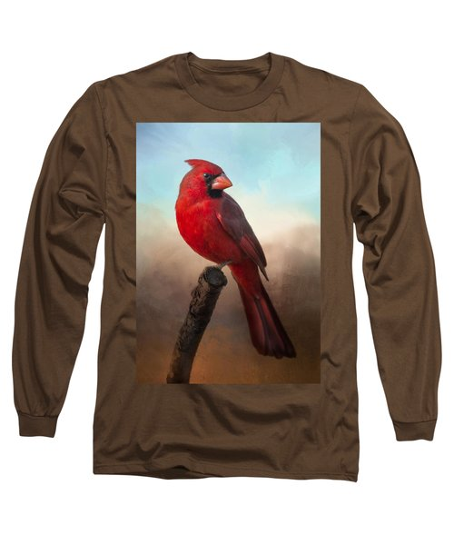 Handsome Cardinal Long Sleeve T-Shirt by Barbara Manis