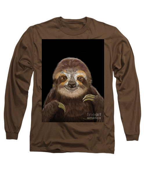Happy Sloth Long Sleeve T-Shirt by Thomas J Herring