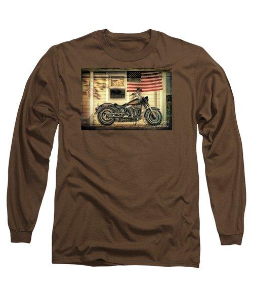 Harley Davidson Fat Boy Long Sleeve T-Shirt by George Robinson