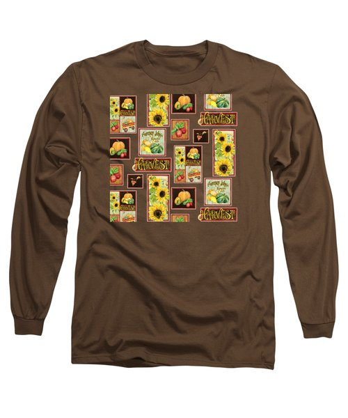 Long Sleeve T-Shirt featuring the painting Harvest Market Pumpkins Sunflowers N Red Wagon by Audrey Jeanne Roberts