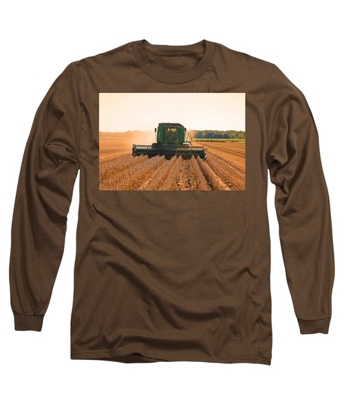 Harvesting Soybeans Long Sleeve T-Shirt by Ronald Olivier
