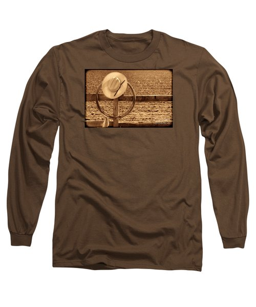 Hat And Lasso On A Fence Long Sleeve T-Shirt by American West Legend By Olivier Le Queinec
