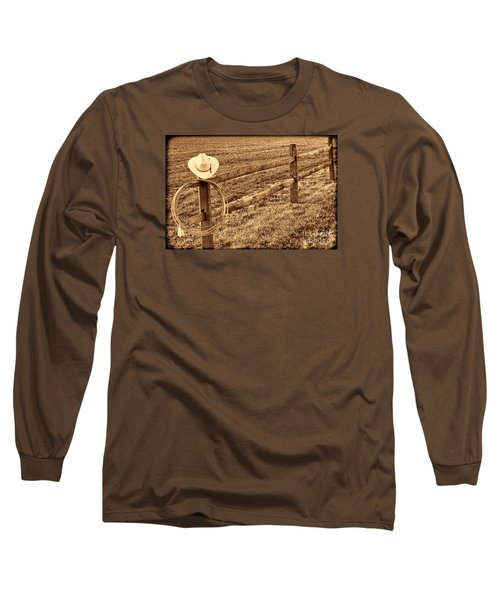 Hat And Lasso On Fence Long Sleeve T-Shirt