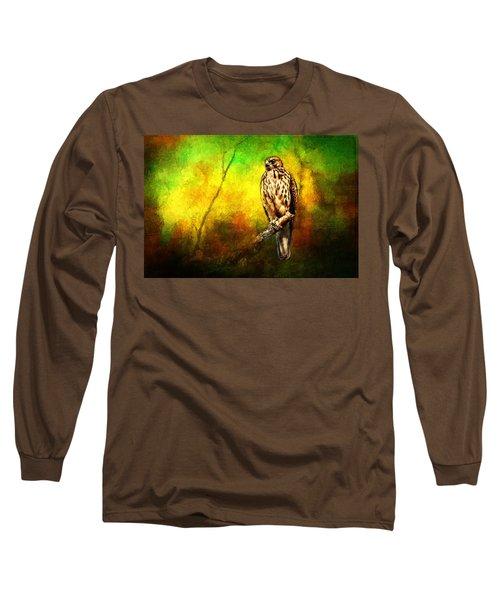 Hawk On Branch Long Sleeve T-Shirt