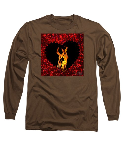 Heart On Fire  Long Sleeve T-Shirt by Mindy Bench