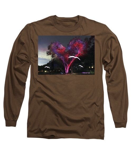 Heart Tree And Birds Long Sleeve T-Shirt by Andrew Nourse