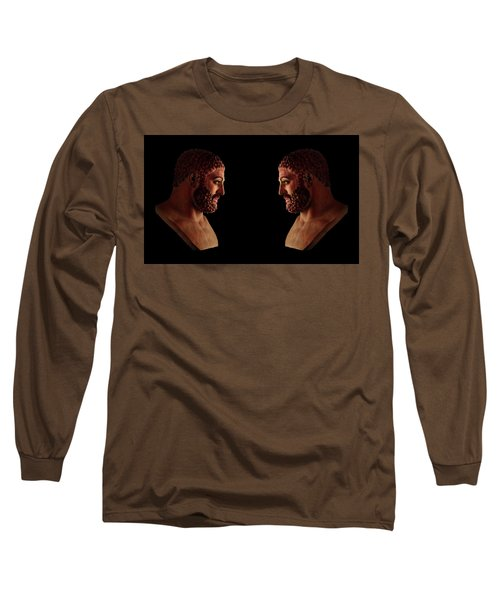 Long Sleeve T-Shirt featuring the mixed media Hercules - Brunettes by Shawn Dall
