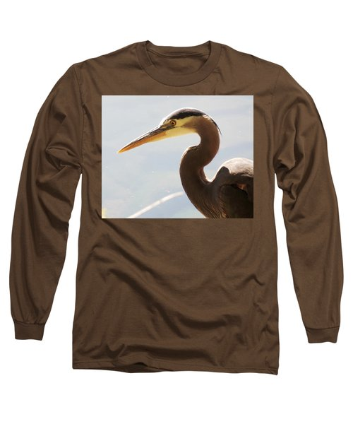Heron Headshot Long Sleeve T-Shirt by Karen Molenaar Terrell