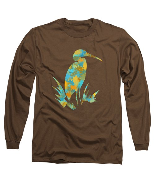 Heron Watercolor Art Long Sleeve T-Shirt
