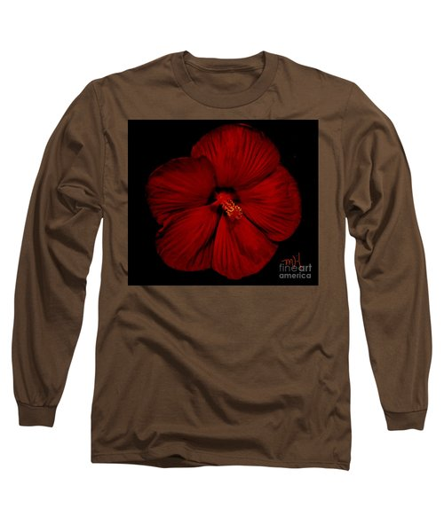 Hibiscus By Moonlight Long Sleeve T-Shirt by Marsha Heiken