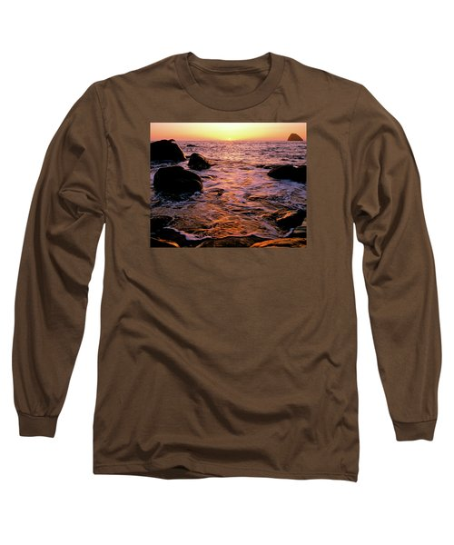 Hidden Cove Sunset Redwood National Park Long Sleeve T-Shirt by Ed  Riche