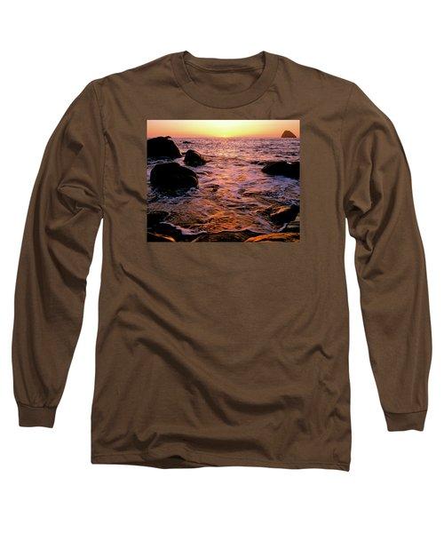 Hidden Cove Sunset Redwood National Park Long Sleeve T-Shirt